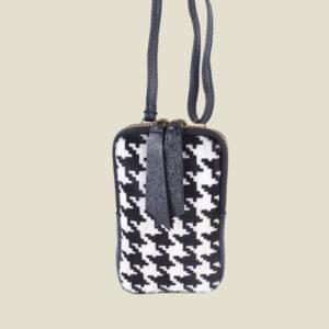 Lederen schoudertasje met vacht Pied de Poule - Roos Cadeaus